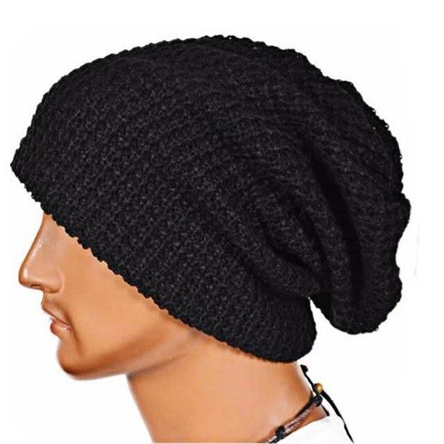 Unisex Beanie Autumn Winter Hat Knit Crochet Warm Hat Oversized Ski Cap  European Style 6 Colors Wholesale aeb8484656a