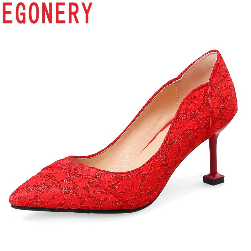 EGONERY women shoes new lace super high thin heels pointed toe wedding shoes slip-on shallow fashion sexy red lady pumps big size 40 41 42 women pumps 11 cm thin heels fashion beautiful pointy toe spell color sexy shoes discount sale free shipping