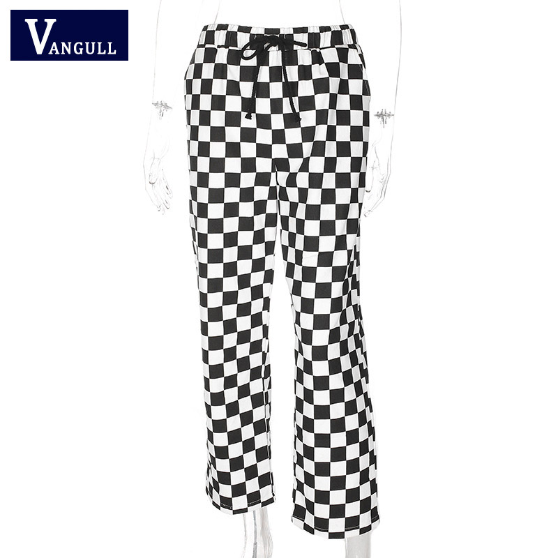 Image 3 - Vangull Plaid Pants Womens High Waist Checkered Straight Loose Sweat Pants Casual Fashion Trousers Pantalon Femme Sweatpants-in Pants & Capris from Women's Clothing