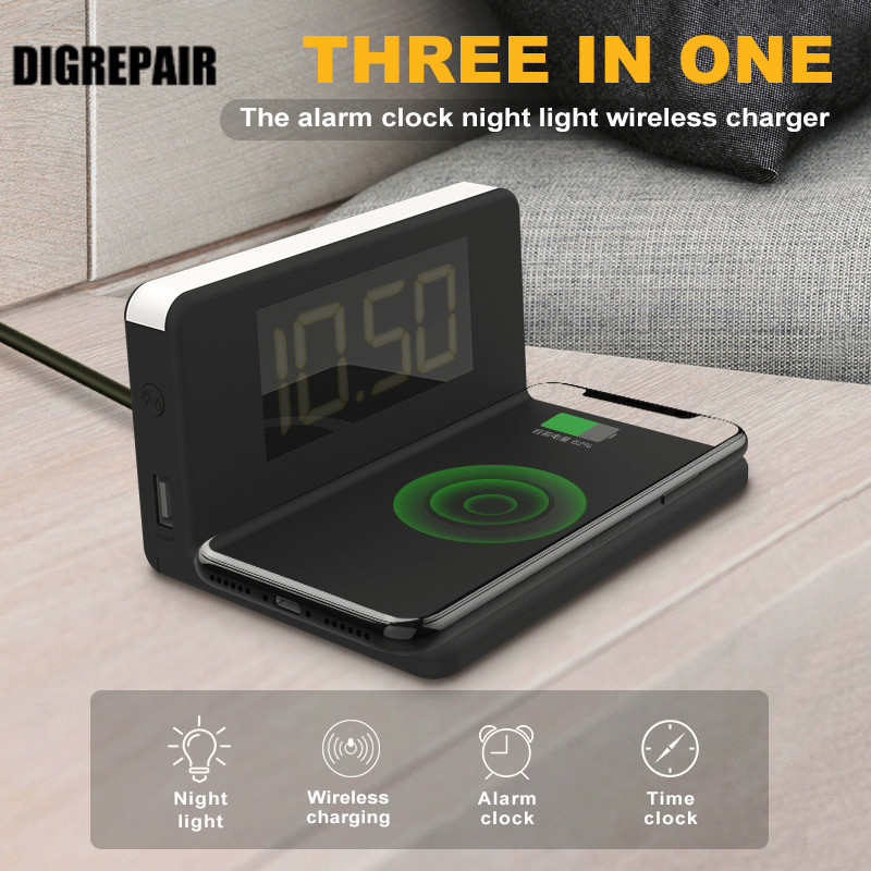 Wireless Charging Alarm Clock Adjustable Home Night Light LED Display Fast 3-In-1 Qi Wireless Charger Dock for IPhone SamsungWireless Charging Alarm Clock Adjustable Home Night Light LED Display Fast 3-In-1 Qi Wireless Charger Dock for IPhone Samsung