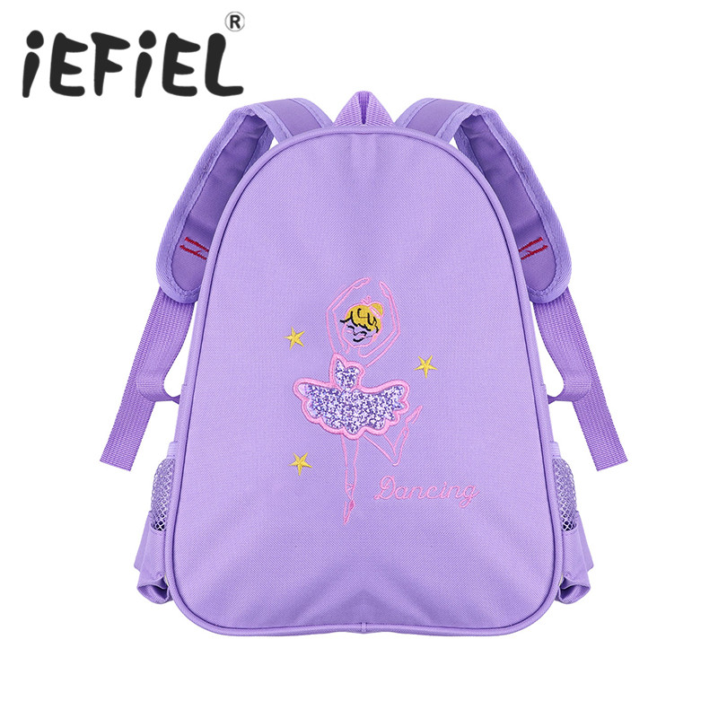 Cute Little Girls Children Kids Students School Ballet Gym Dance Bag Embroidered Ballerina Dancing Shoulder Dancer Backpack Bag