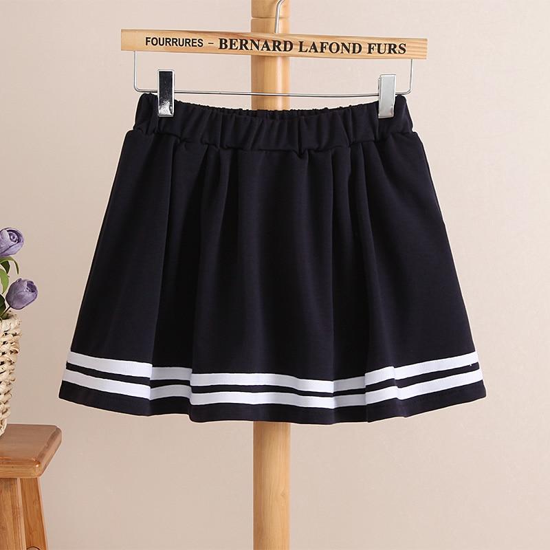 Summer new Juniors pants skort skirt women's preppy style short skirt stretch elastic waist skirts navy culottes white navy blue