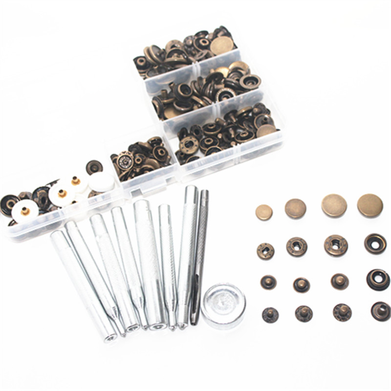 45 set 10mm 12mm 15mm metal Snap Fastener Press Stud Buttons Poppers Leather Craft Fixings Tools 9-piece tool set Kit + box