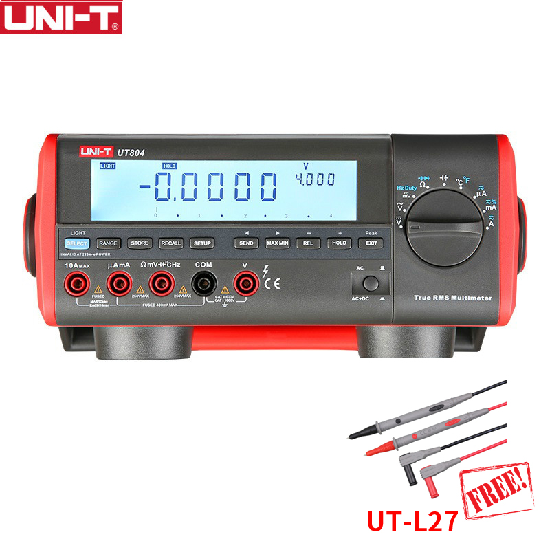 UNI-T UT804 True RMS Auto Range 1000V 10A Bench Top Digital Multimeters Volt Amp Ohm Capacitance Hz 39999 Counts Tester 1 GIFT uni t ut804 lcd display bench type digital multimeters volt amp ohm capacitance hz 39999 counts tester high accuracy