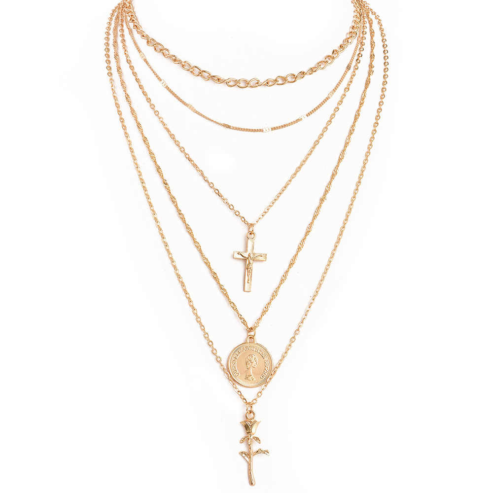 Fashion Multiple Layers Gold Color Chain Cross Sequined Rose Pendant Necklace For Women Charm Choker Collares Necklace Jewelry