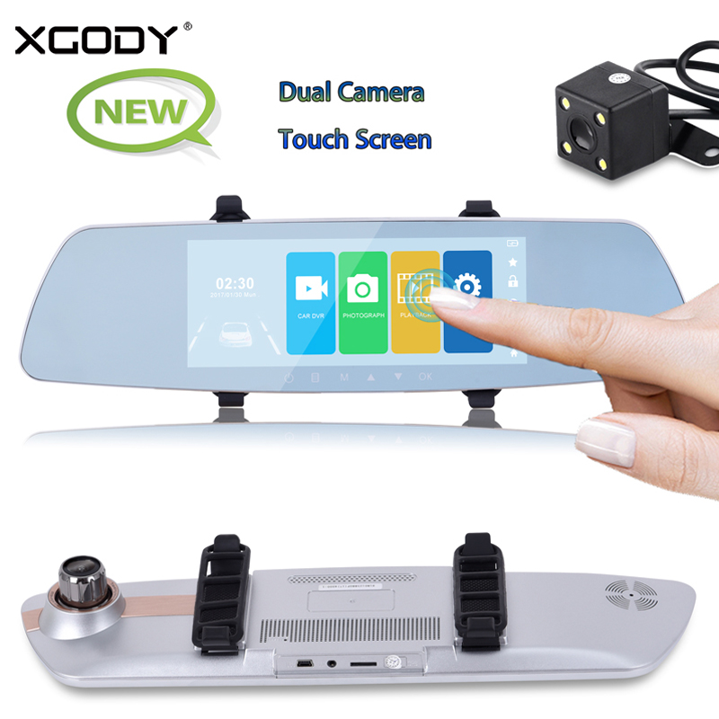XGODY 520 7 Inch Car DVR Touch Screen Dual Lens Mirror Rearview Camera Video Recorder Night Vision Full HD 1080P Dash Camera