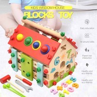 Children Learning Educational Math Musical Wooden Learning Building Blocks Wood House Toy Kids Dismounting Number Letter Toys