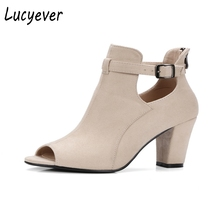 Lucyever New Spring Autumn Women Peep Toe Ankle Boots Solid Thick Heel Back Zipper Shoes Woman Vintage Rome Sandals Big Size