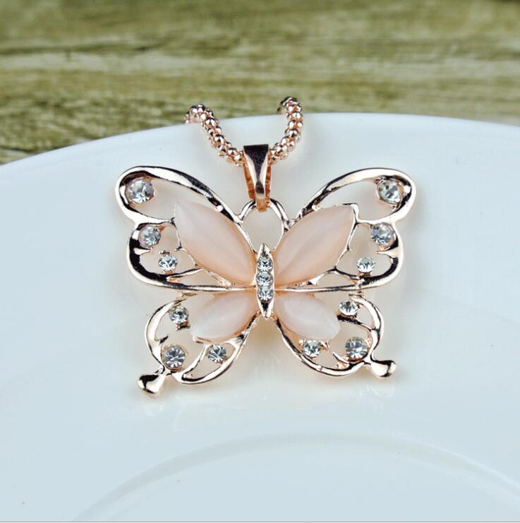 Hot High Quality Rose Gold Acrylic Crystal Opal 4CM Big Butterfly Pendant Necklace 70CM Long Chain Sweater Jewelry For Women