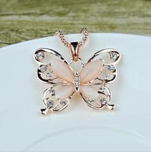 Hot High Quality Rose Gold Acrylic Crystal Opal 4CM Big Butterfly Pendant Necklace 70CM Long Chain Sweater Jewelry For Women цены