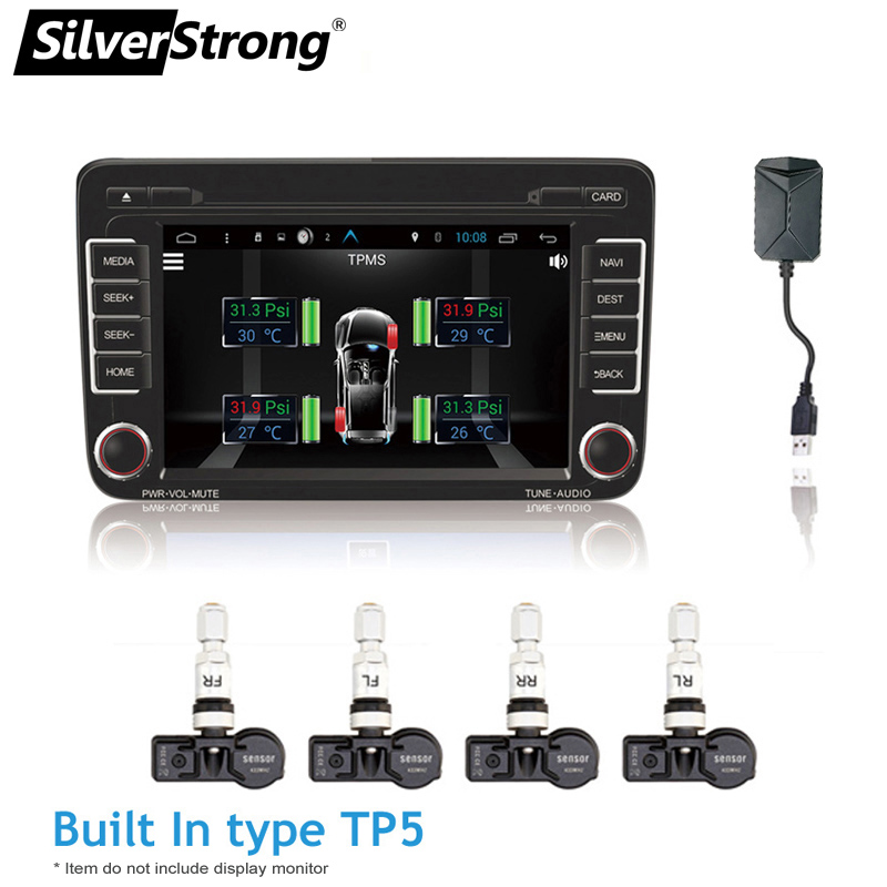 SilverStrong TPMS with USB Tire Alarm Auto Tire Pressure Monitoring System 4 Tire Sensors Temperature Alarm for Android Car DVD tp630 tpms car smart bluetooth tpms tire pressure psi bar temperature alarm system for android for ios 4 sensors