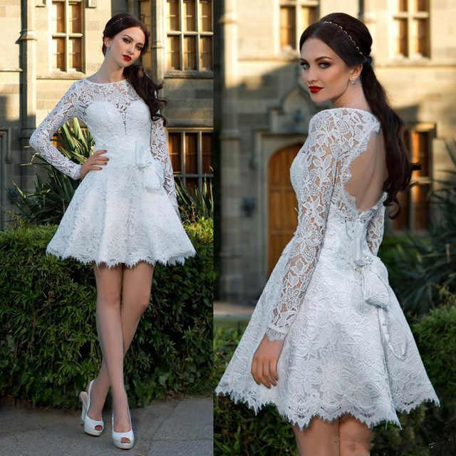 0998e7e0aac8d 2019 Elegant White Lace A-Line Short Evening Dresses Long Sleeve Backless  Knee-length Prom Gowns Formal Dress Vestidos de gala