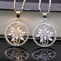 Fashion Jewelry Hollow out Gold Plated Pendant Flower Crystal AAA Cubic Zirconia Pendant Necklace