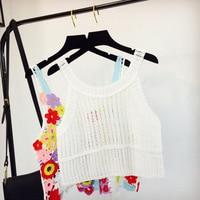 Women Summer Short Vest Sexy Hollow Out O Neck Plain White Lace Sleeveless Crop Tops Crochet