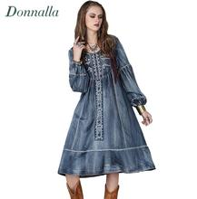 Boho Style Denim Dress Women Vintage Ethnic Jeans Dresses Embroidery A line Pleated Long Sleeve Autumn Winter Long Dress 2016