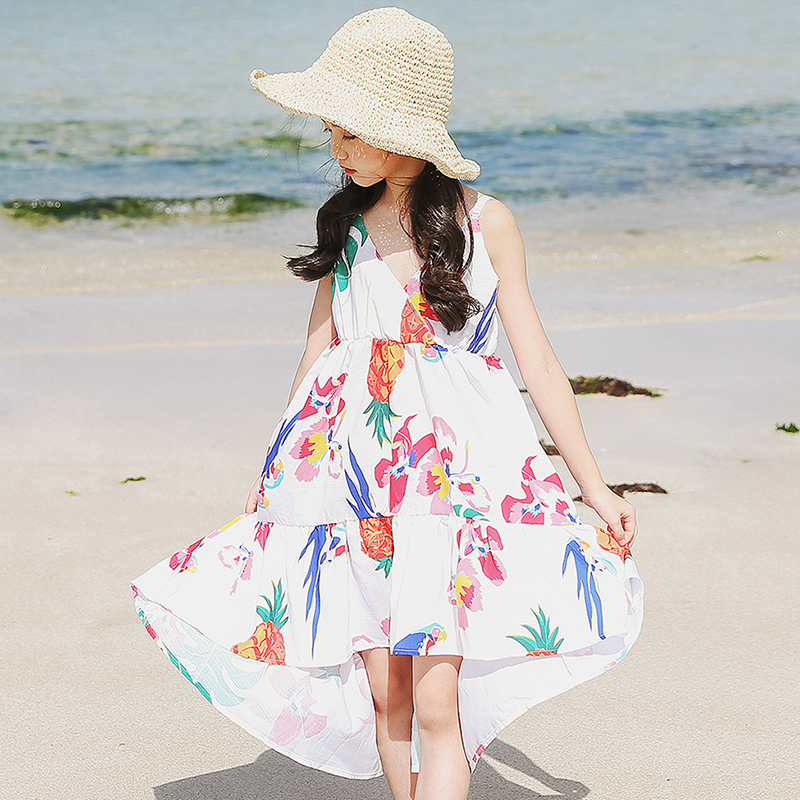 Girls Sundress White Fashion Dress For Girls Summer Kids Dresses For Girls 2018 Sleeveless Children Princess Clothing new summer style girls dresses fashion knee length beach dresses for girls sleeveless bohemian children sundress girls yellow 3t