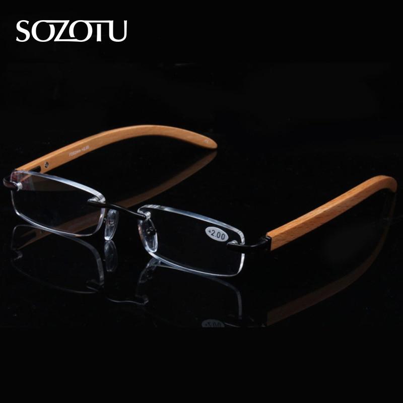 ef146770b5 SOZOTU Reading Glasses Men Women Slim Diopter Wooden Frame Prescription  Presbyopic Eyeglasses +1.0+1.5