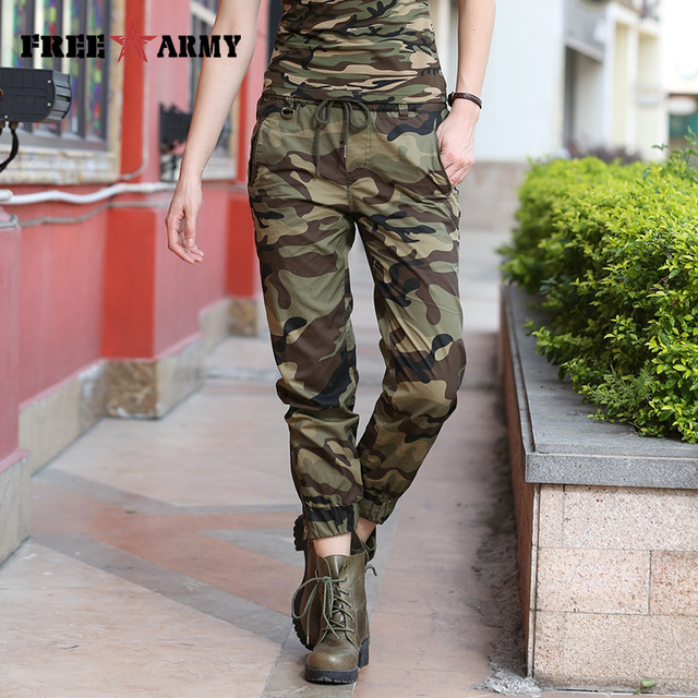 3471ecf20a30f Freearmy Camo Summer Pants Women Ankle-Length Casual Pants Women Joggers Camouflage  Elastic Waist Trousers Female Sports Pants