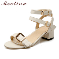 Meotina Shoes Women Summer Sandals Open Toe Thick Heels Buckle Strap Women Shoes Gladiator Sandals Black