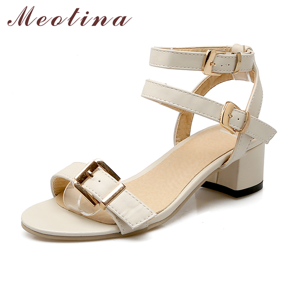 Meotina Shoes Women Summer Sandals Open Toe Thick Heels Buckle Strap Women Shoes Gladiator Sandals Black Beige Plus Size 10 43 fashion sexy women summer sandals gladiator black red solid sandals buckle strap nubuck leather thick heel sandals us size 5 9
