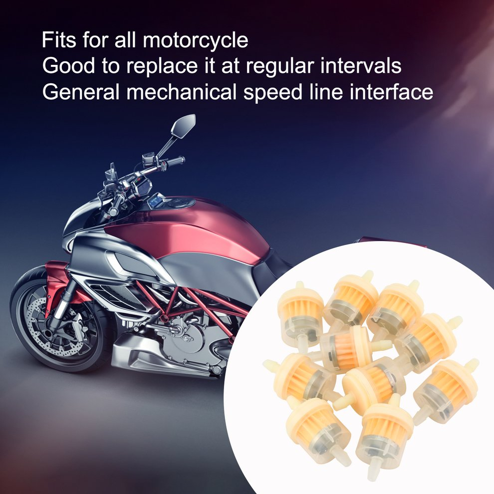 10x Universal Gas Fuel Oil Filter For Motorcycle Moped Scooter Go Kart Dirt Bike
