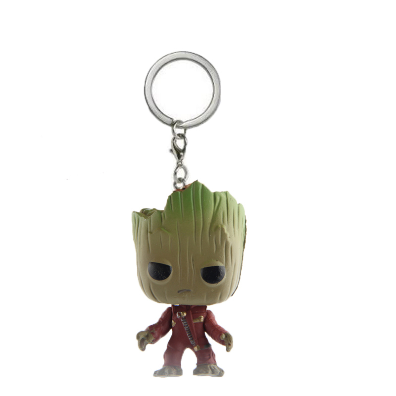 Elsadou Guardians of the Galaxy Tree Man With Star Lord Clothes Action Figures Children Toy Keychain