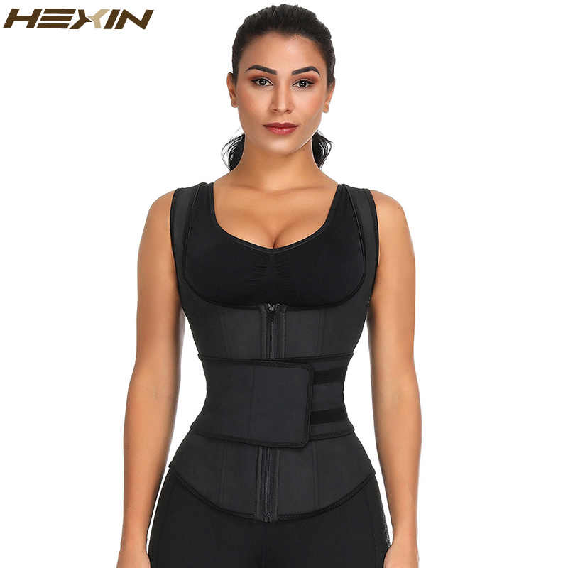 4011ea2c626 HEXIN Latex Waist Trainer Vest Corset High Compression Women Zipper Body  Shaper Underbust Waist Cincher Girdle