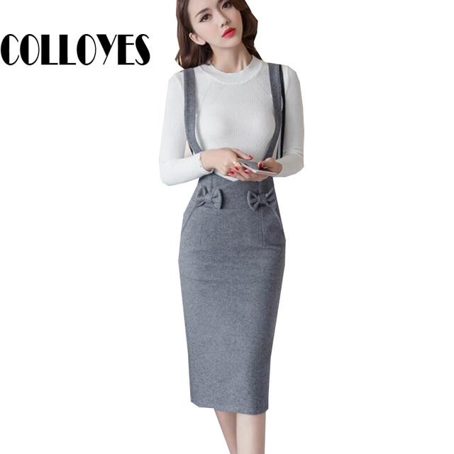 1f31b2670203a9 € 28.29 |Crayon jupe avec bretelles femmes arc noir gris jupes sexy office  lady taille haute solide de mode mince OL tricoté jupe dans Jupes de ...