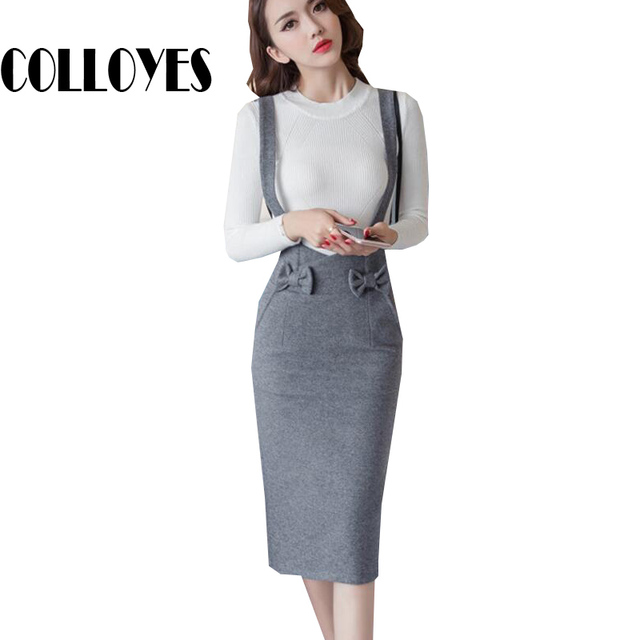 e9a31a122 pencil skirt with suspenders women bow black gray skirts sexy office lady high  waist solid fashion slim OL knitted skirt