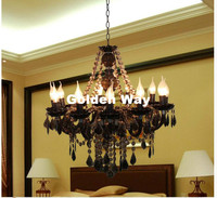 Free Shipping Black Color Tiffany Pendant Lamp 3 5 9 12 Heads Lights Vintage Acrylic Crystals
