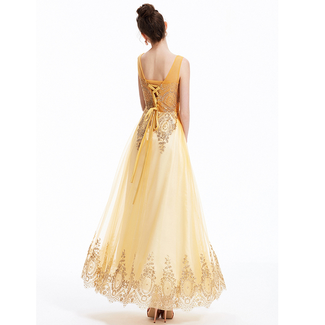 Tulle Lace Muslim Gold Evening Dress Long Formal Gown Prom Robe de Soiree Mother of the Bride Dresses come with Belt New