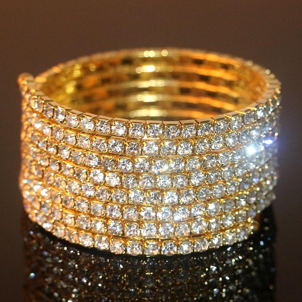 Gold Color 7 Rows Rhinestone Spiral Upper Arm Cuff Armlet -6240
