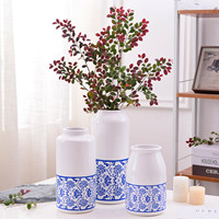 Blue and White Porcelain Vase Chinese Traditional Flower Vase Water Planting Container Home Decorative Wedding Gift