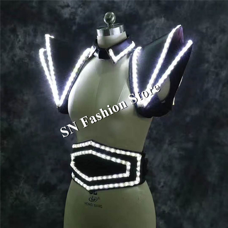 LZ21 White LED Suit LED Lighted Vest Luminous Waistcoat font b women b font led stage