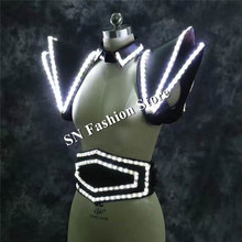 LZ21 White LED Suit LED Lighted Vest Luminous Waistcoat women led stage show wears clothing stage dj singer led dress costumes