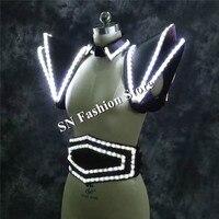 LZ21 White LED Suit LED Lighted Vest Luminous Waistcoat women led stage show wears clothing stage dj singer led dress costumes