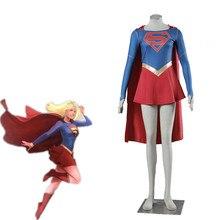 Athemis Movie Supergirl Cosplay Kostuum Custom Made Mantel Jurk Hoge Kwaliteit