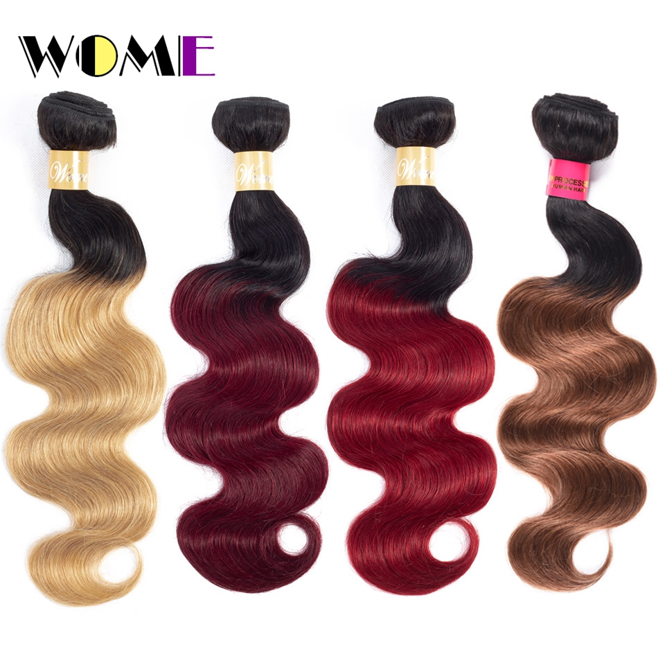 Hair Weaves Sincere Wome Body Wave Ombre Hair Bundles Brazilian Non Remy Human Hair Extensions 1/3 Pcs Deal T1b/99j/red/bloned Ombre Hair Bundles