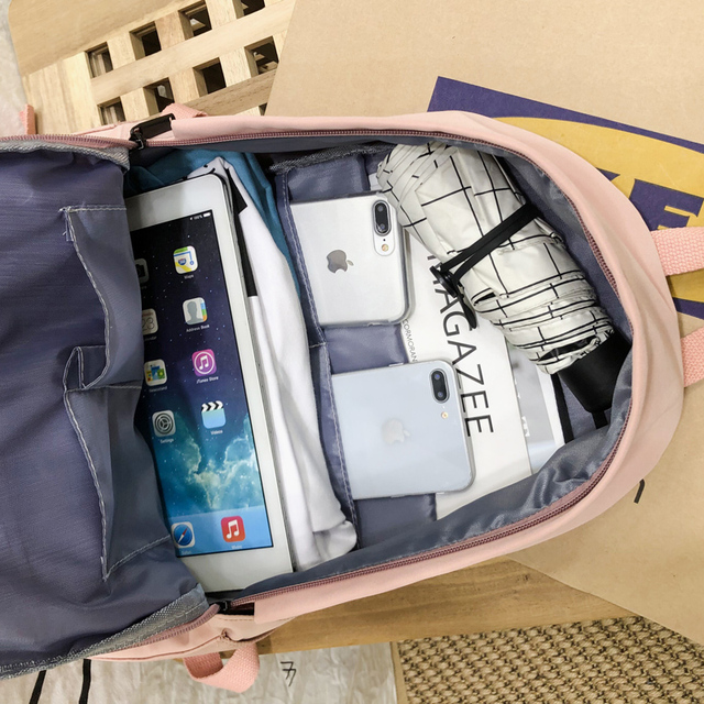 2020 Backpack Women Backpack Fashion Women Shoulder Bag solid color School Bag For Teenage Girl Children Backpacks Travel Bag 5