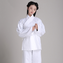 Купить с кэшбэком Unisex Pajamas Hanfu 100% cotton clothing sleepwear at home leotard Chinese ancient White pajamas Practice jerseys In Temples