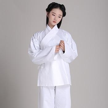 Unisex Pajamas Hanfu 100% cotton clothing sleepwear at home leotard Chinese ancient White pajamas Practice jerseys In Temples