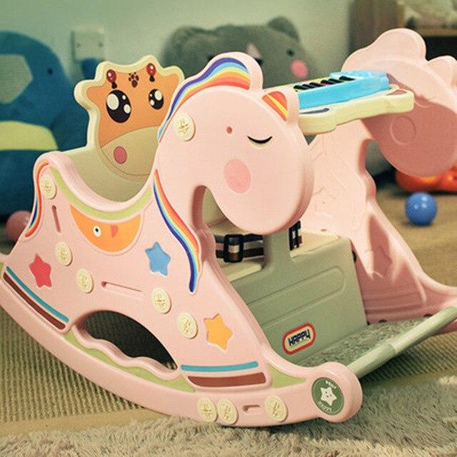 4703 Bébé chaise berçante musique en bois cheval cheval à bascule jouet première année enfant cheval à bascule cadeau
