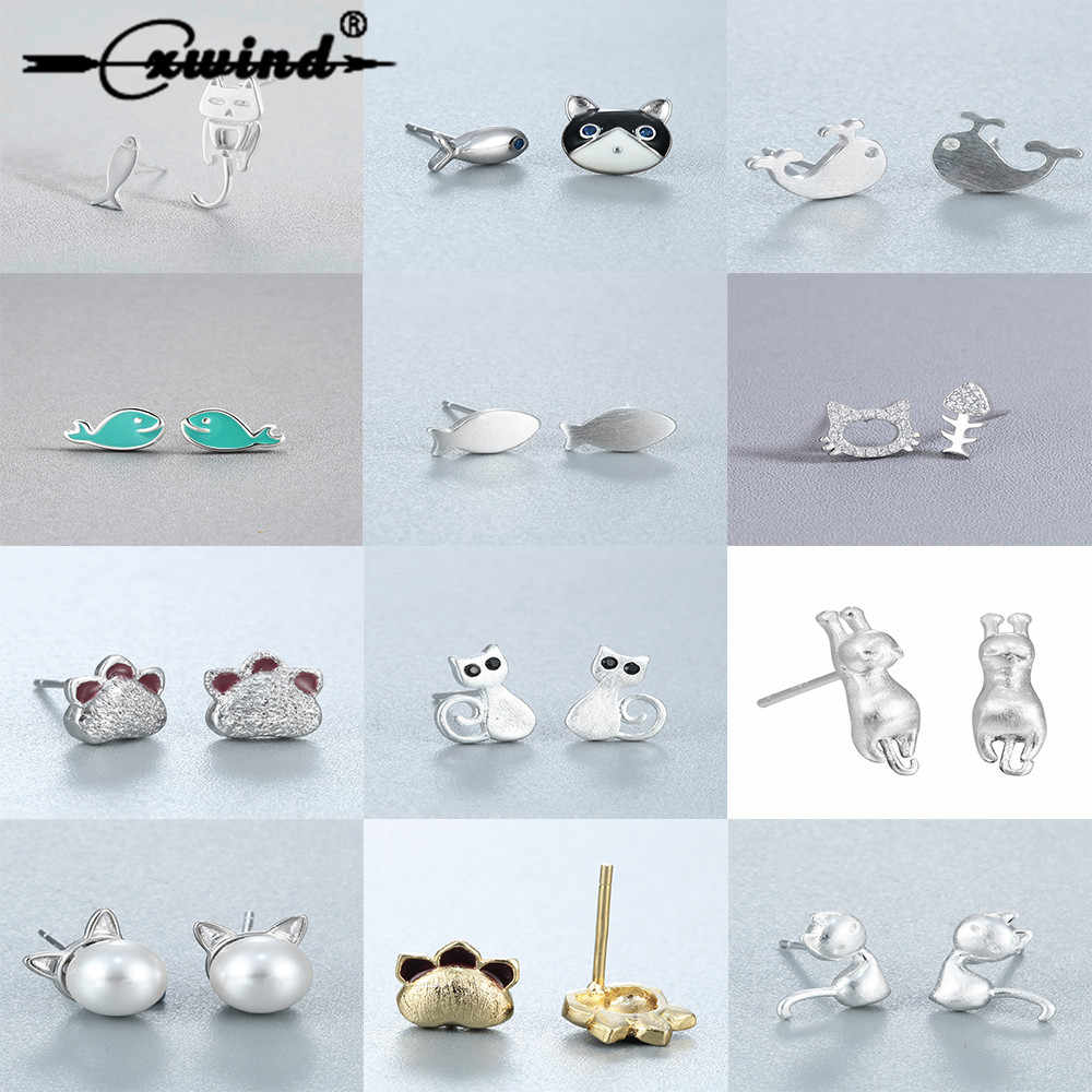 Cxwind Fashion Animal Ocean Earrings Cat Fish Asymmetry Stud Earrings for Girl Kid Statement Animal Tail Earring Jewelry Gift