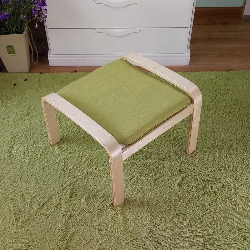 Pleasing Comfortable Wooden Stool Ottoman Footstool With Linen Fabric Cushion Seat Living Room Furniture Plywood Small Wood Footstool Squirreltailoven Fun Painted Chair Ideas Images Squirreltailovenorg