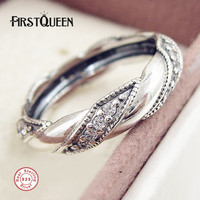 FirstQueen 925 Sterling Silver Ribbon Of Love Ring Anillos De Plata 925 Fine Jewellery Prices In
