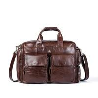 Genuine Leather Handbags for Men Business Briefcases Large Capacity Laptop Bags Casual Man Shoulder Messenger Bag Male