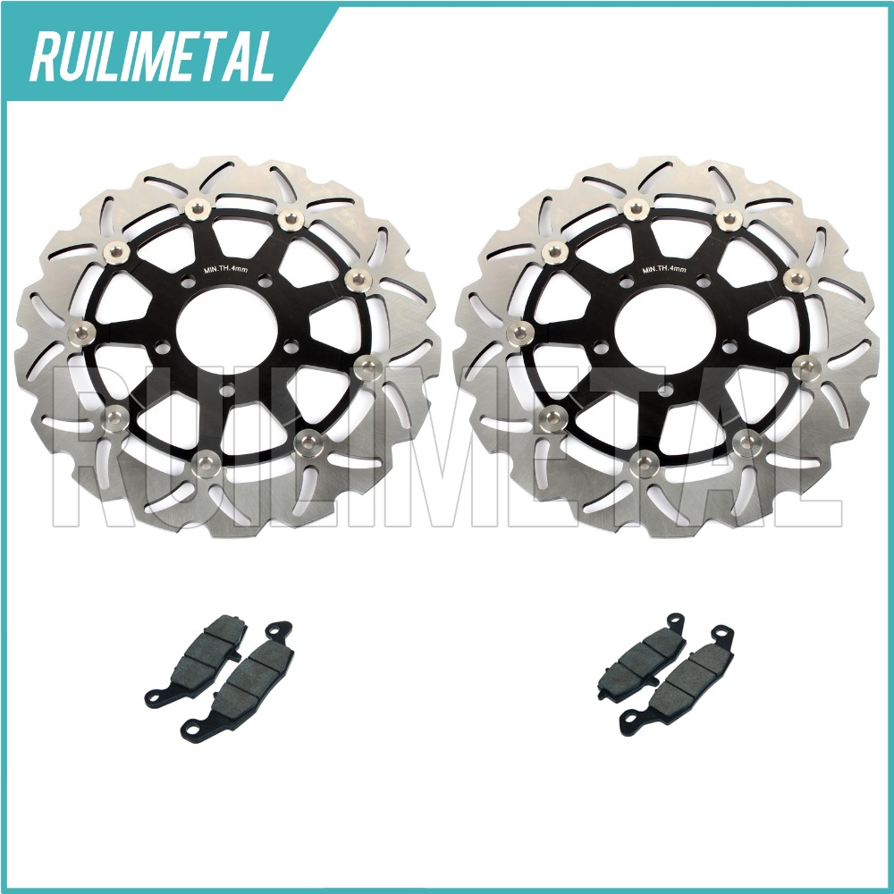Front Brake Discs Rotors + Pads Set for Suzuki GSF 650 Bandit / S / ABS 05 06 K5 K6 SV 650 03-10 SV650S 03-09 08 07 GSX 750 F K4 full set front rear brake discs disks rotors pads for suzuki gsxr 750 94 95 gsx r 1100 p r s t 1993 1994 1995 1996