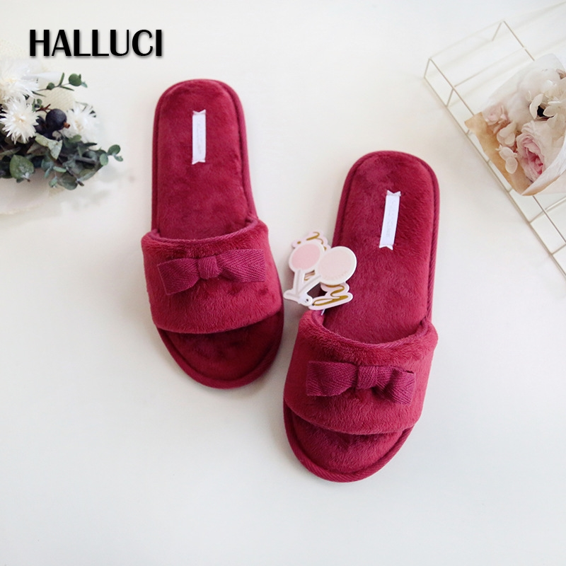 HALLUCI Summer home slippers For women cotton peep-toe ladies slippers casual furry slides mary janes rubber sole shoes women