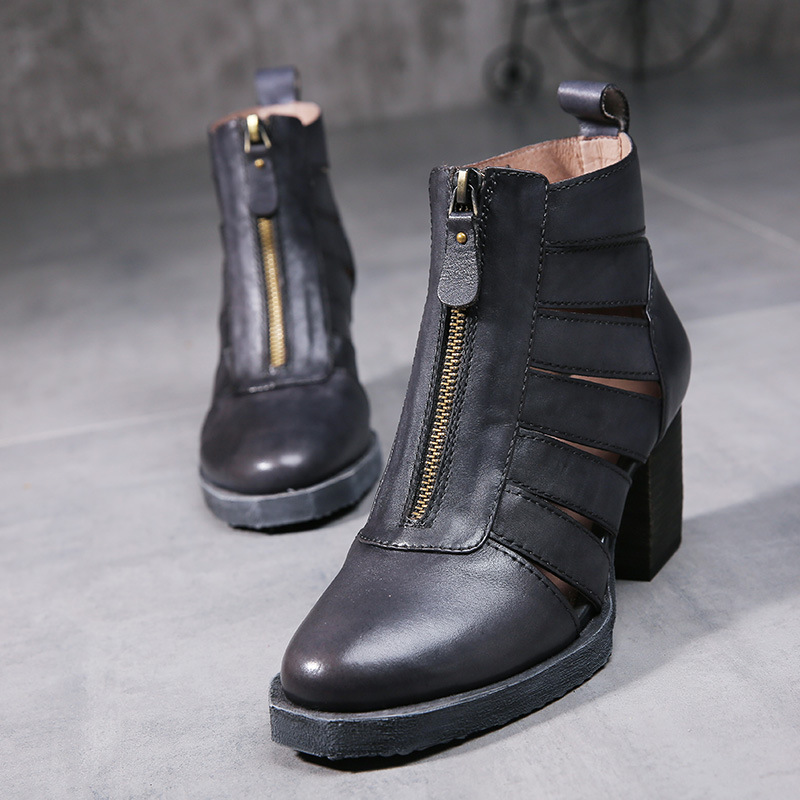 GYKZ The Original Design of Neutral Retro Metal Zipper Low Heel Roman Woman Lady Womens Cool Boots Sandals