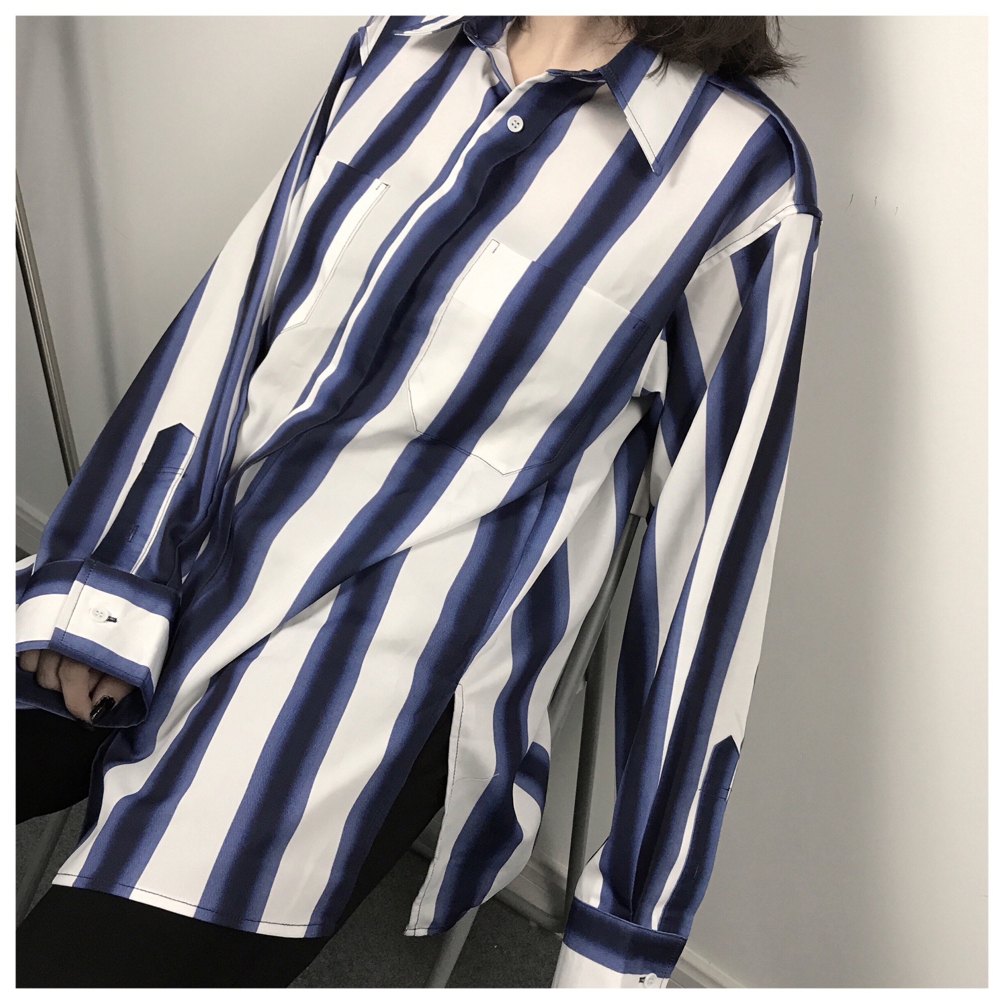 2018 Women Long Sleeve Button Tops Lady Casual Loose Shirt Formal Striped Blouse